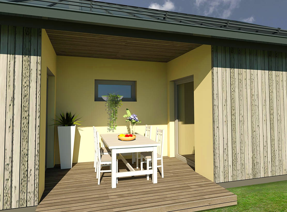 vieno aukšto 80 m² namų projekto terasos vizualizacija